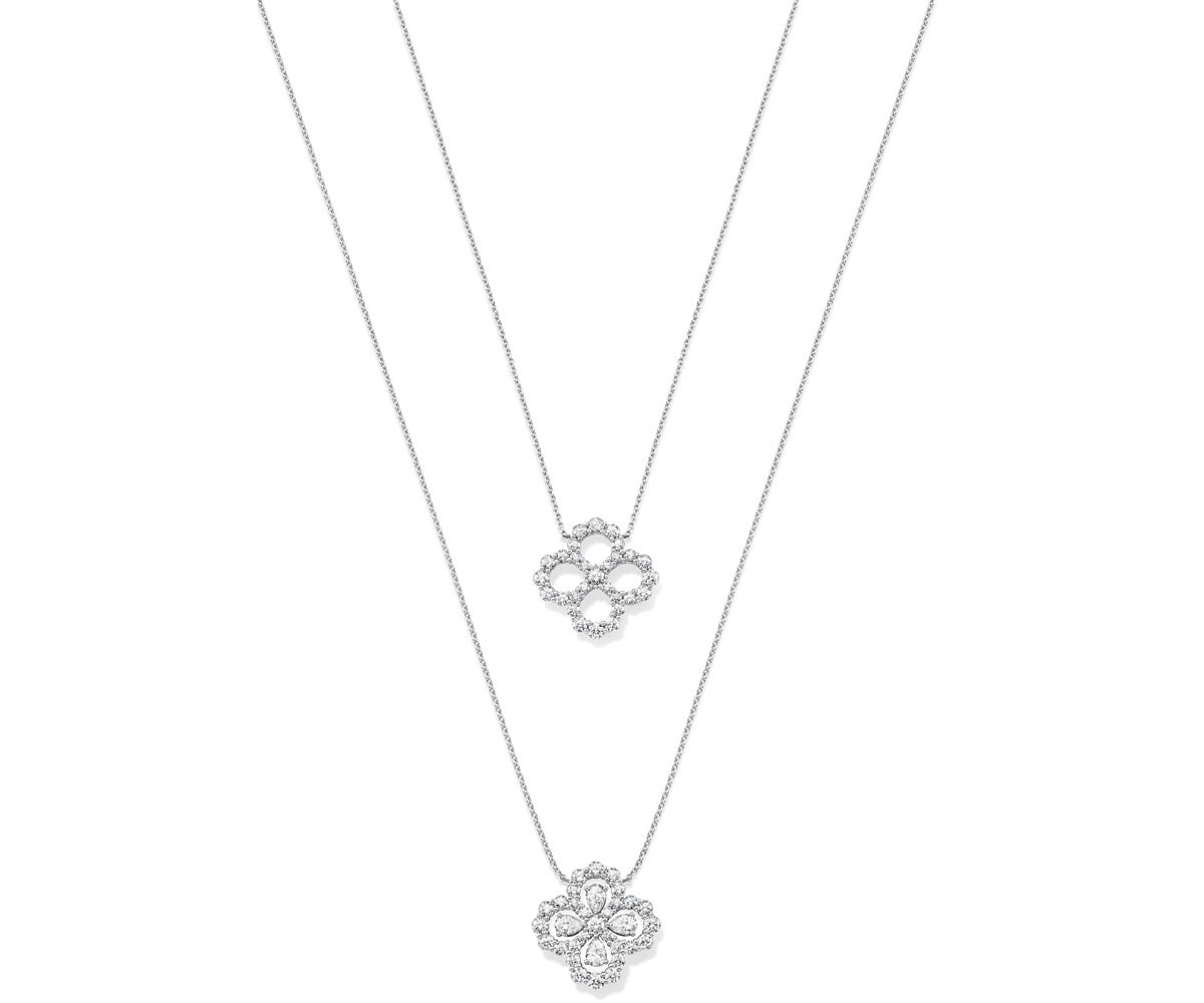 """ペアシェイプをモチーフにしたトップが可憐。プラチナとダイヤモンドが清廉な輝きを放つ """"ループ・ウィンストン"""" コレクション。"""