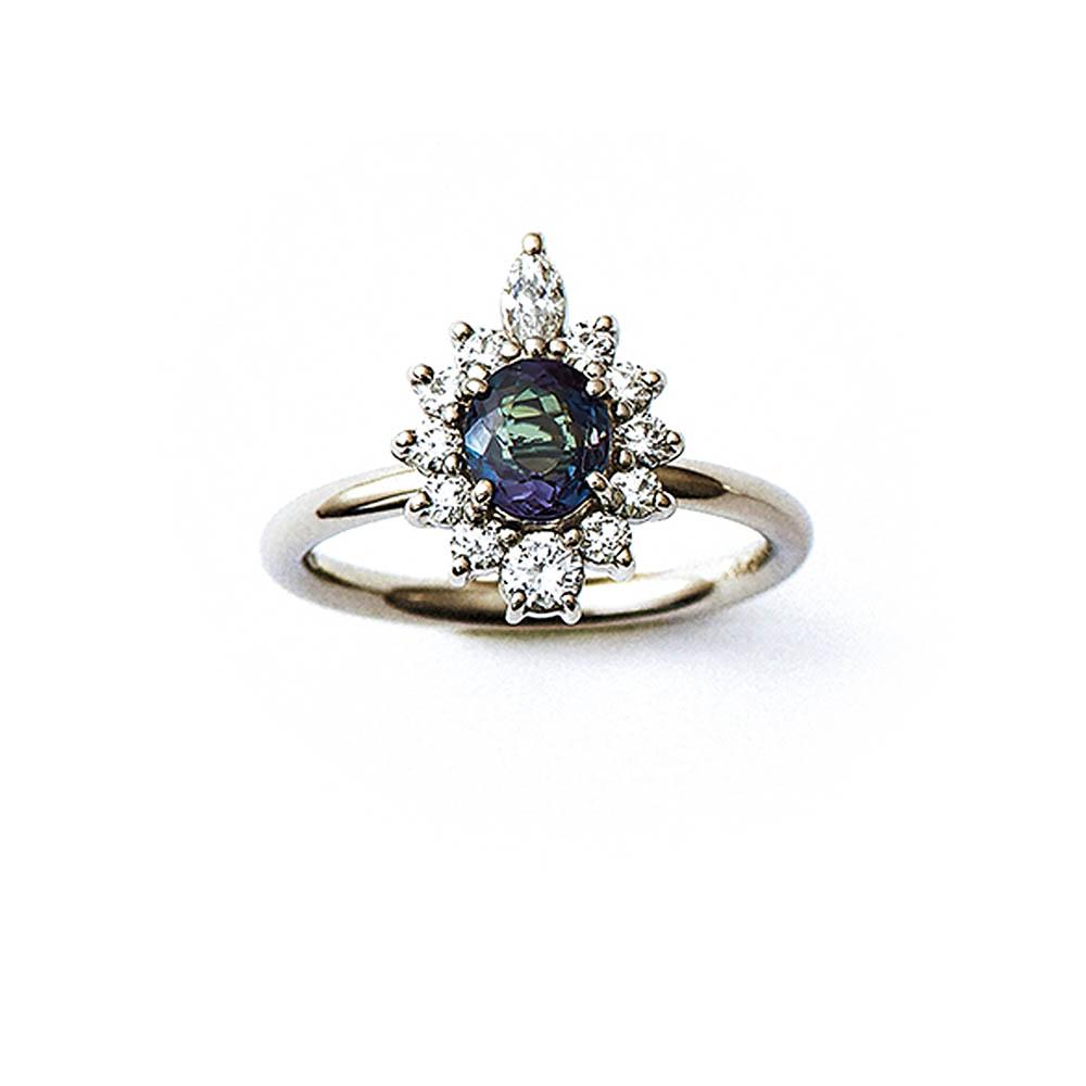 """""""RE-""""リング〈PT、アレキサンドライト、ダイヤモンド〉¥686,000"""
