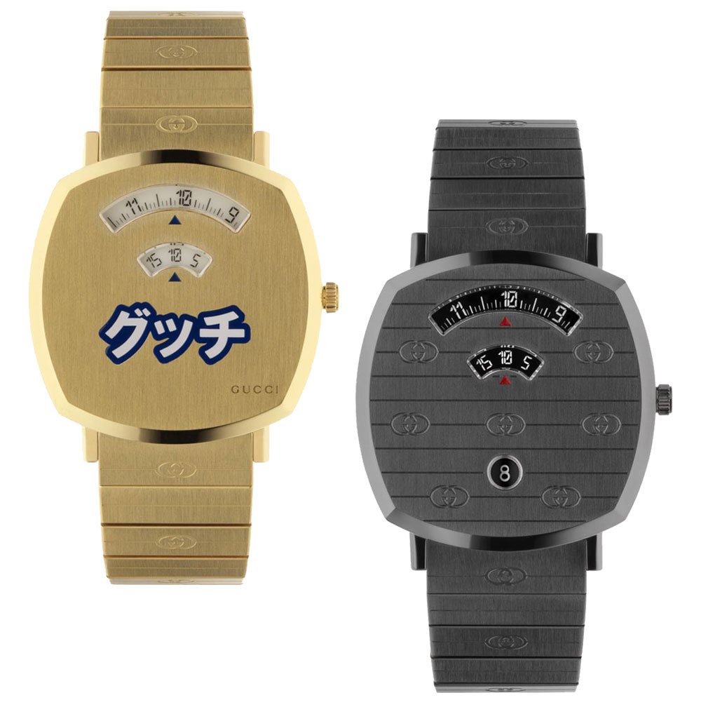 """(左から)""""グリップ"""" ウォッチ〈SS、ゴールドPVD、クオーツ〉¥230,000 ※日本限定、同ウォッチ〈SS、チタニウムPVD、クオーツ〉¥200,000"""