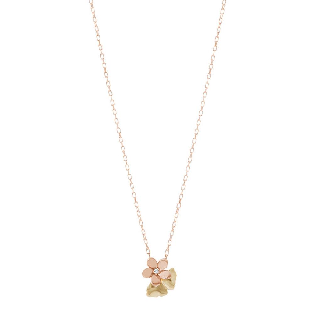 """""""チェリーブロッサム"""" ネックレス〈18KPG、18KYG、ダイヤモンド〉¥68,000"""