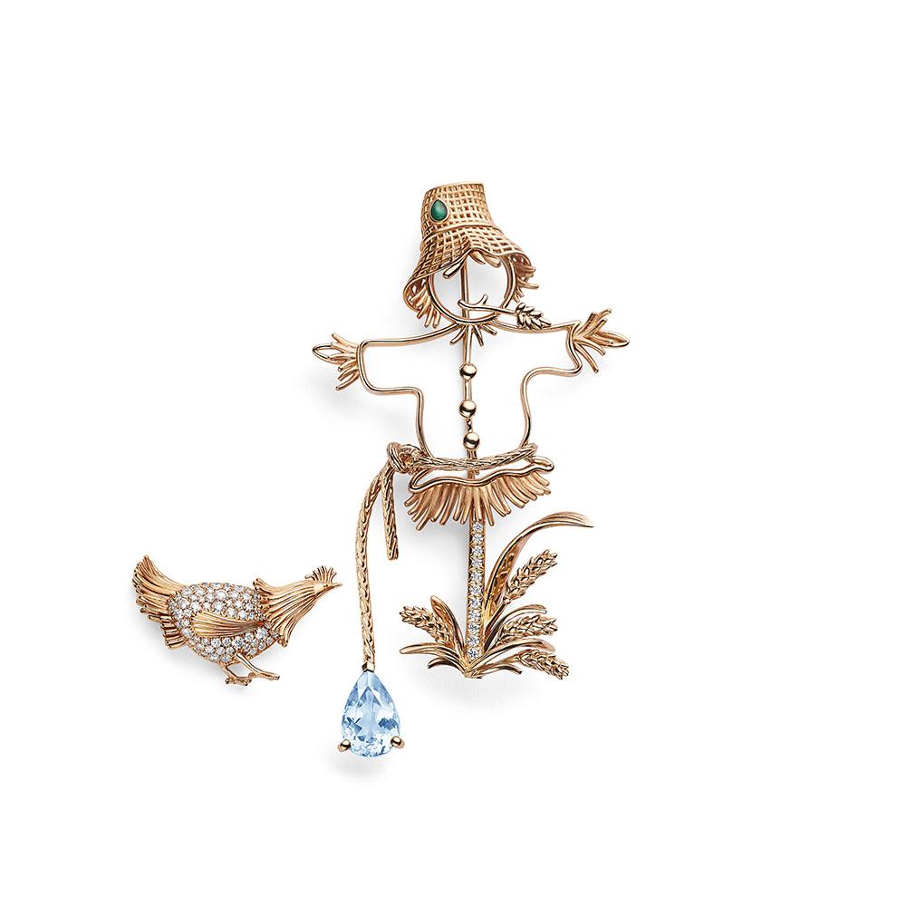 """""""レ エスピエグルリ ド ショーメ""""ブローチ〈WG、PG、ダイヤモンド、アクアマリン〉¥3,530,000 ※セパレートパーツはイヤリング・ラペルピンとしても使用可能"""