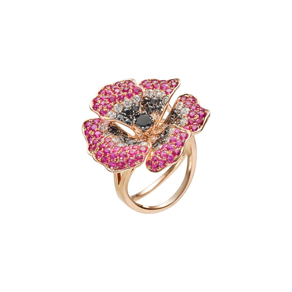 「アネモネ」リング〈K18RG、ダイヤモンド、ブラックダイヤモンド、ルビー〉¥1,113,200