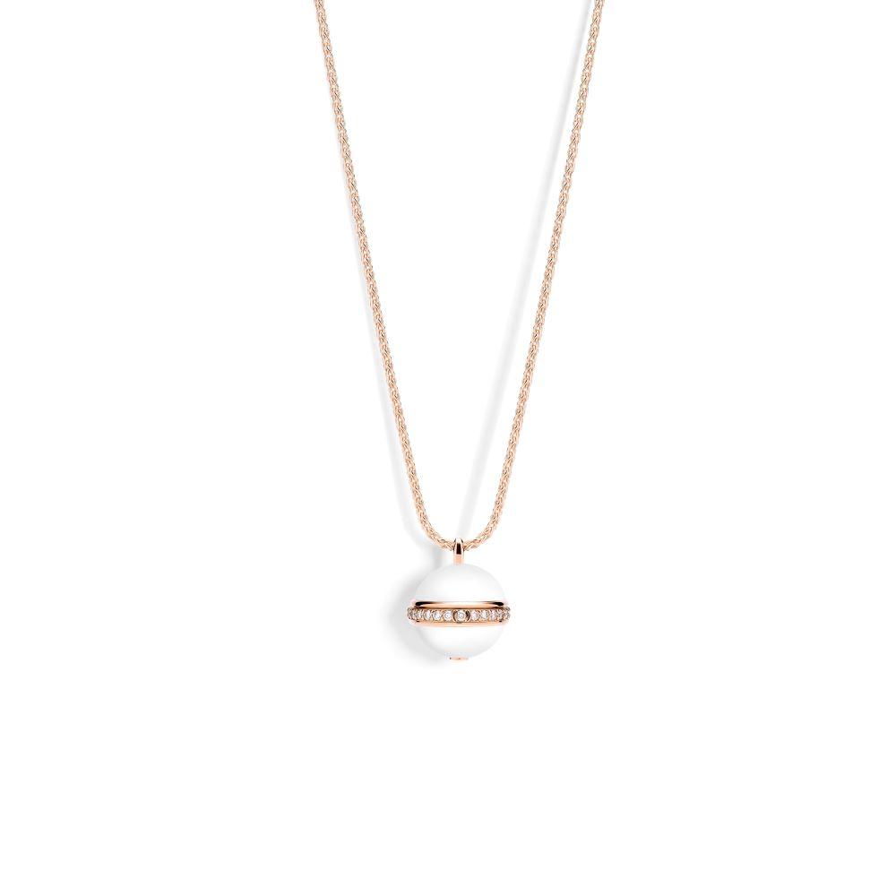 """""""ポセション""""ペンダント〈K18PG、ダイヤモンド、ホワイトカルセドニー〉¥720,000"""
