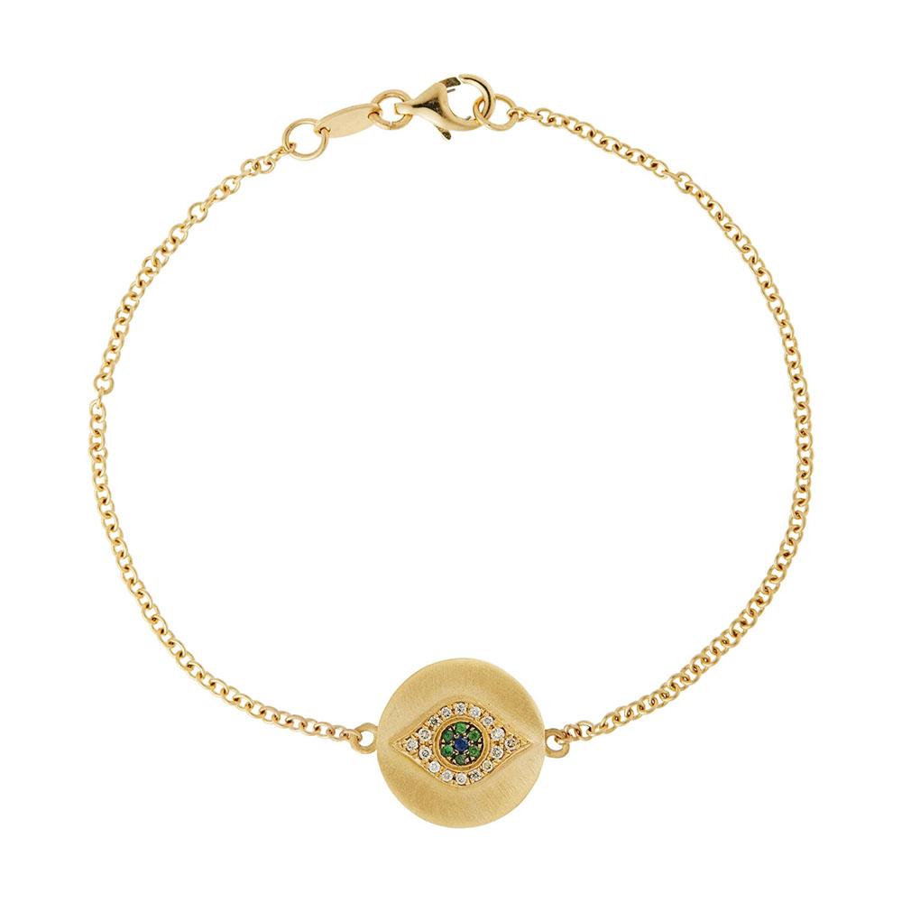 「ゴールデン・アイ」ブレスレット〈18KYG、ダイヤモンド、ツァボライトガーネット、ブルーサファイヤ〉¥269,500