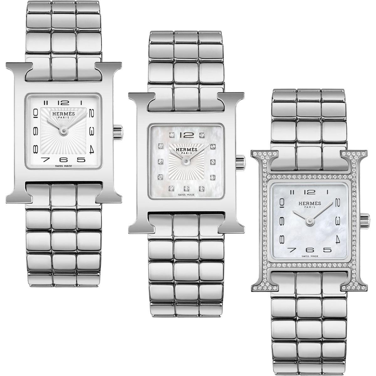 (左から)〈ケースサイズ 21 × 21mm、SS〉¥348,000、〈ケースサイズ 21 × 21mm、マザー・オブ・パール、ダイヤモンド、SS〉¥459,000〈ケースサイズ 21 × 21mm、マザー・オブ・パール、ダイヤモンド、SS〉¥612,000