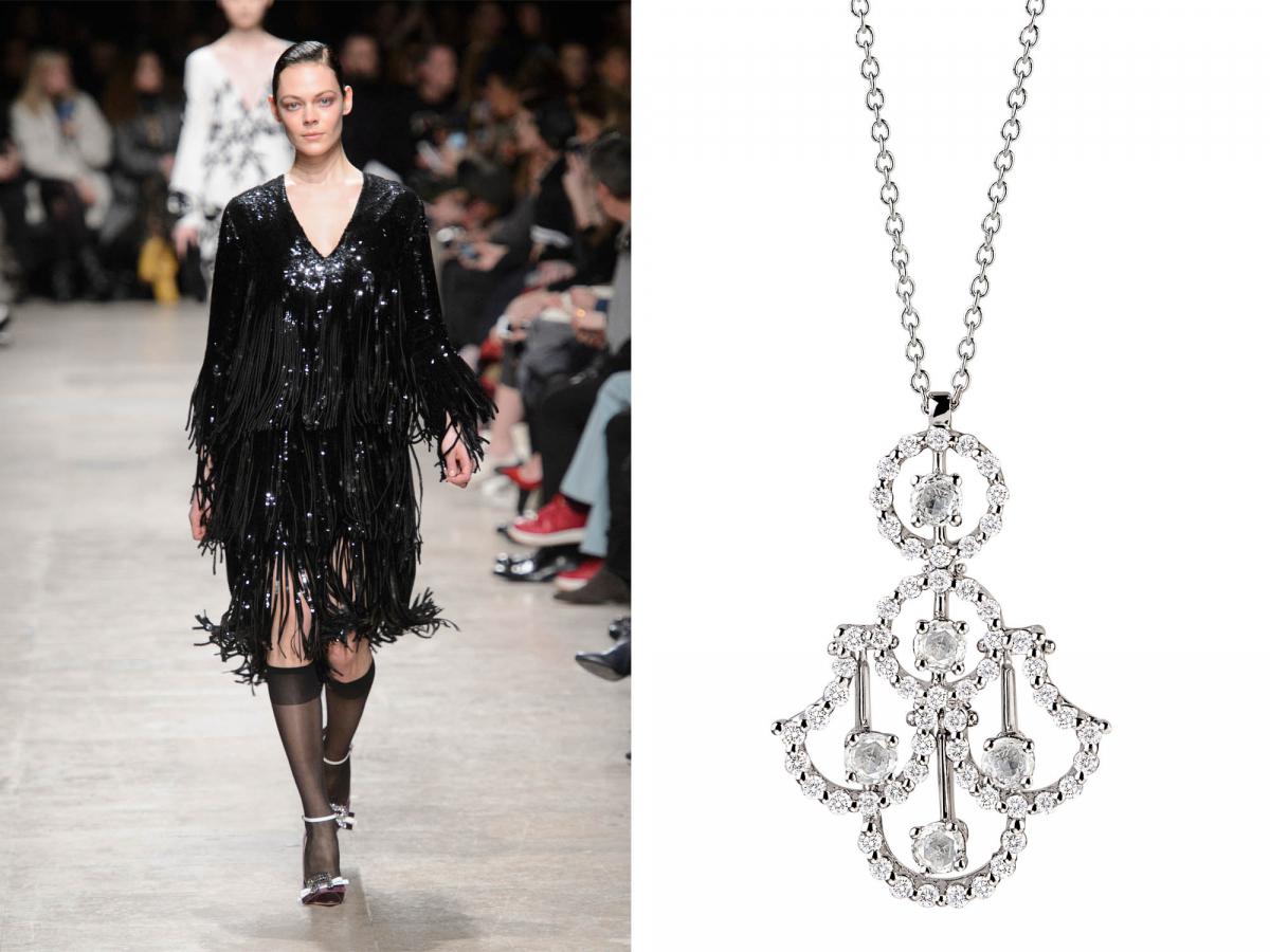 ブラックスパンコールが煌めくフリンジドレスは、ロシャスの秋冬コレクションから。Runway photos by iMAXTREE/Zeta image, jewelry photo courtesy of brand