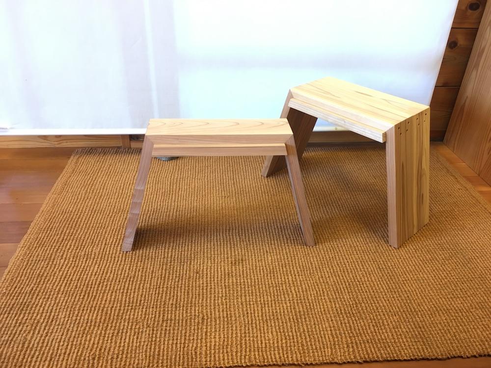 11月14日(土)に開催される松田木材のワークショップでは、富山産の杉でスタッキングスツールを制作。会場の什器も松田木材によるもので、展示販売も行われる。