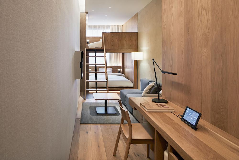 2段ベッドがユニークなタイプGの部屋。¥29,900(消費税・サービス料込み)