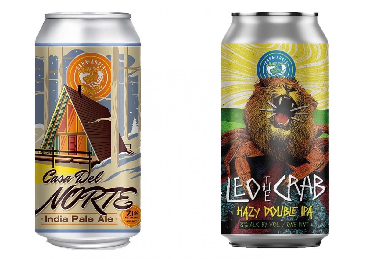 米西海岸のブルワリー「カサ アグリア」のクラフトビールも。左「カサ デル ノルテ」(473ml)¥1,162、右「レオ ザ クラブ」(473ml)¥1,303