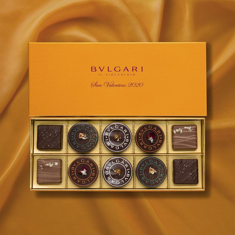 バレンタイン限定のフレーバー各2個と「ブルガリ・ブルガリ オレンジ」2個が入った「サン・ヴァレンティーノ 2020」(10個入)¥10,185