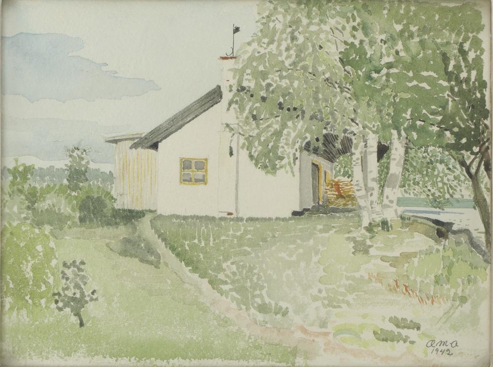 アイノ・アアルト、ヴィラ・フローラ水彩スケッチ、1942年 Aalto Family Collection