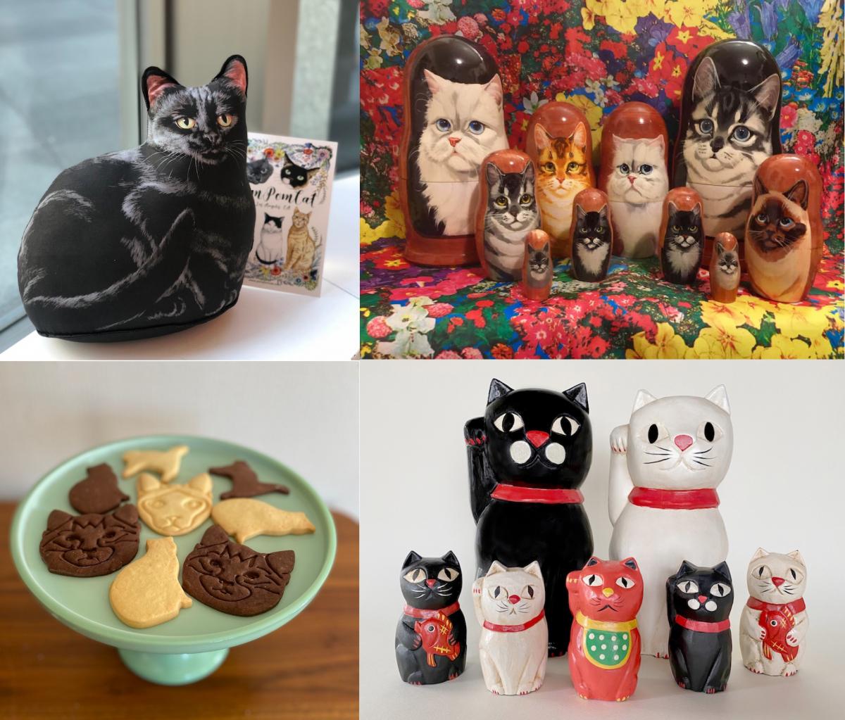 左上から時計回りにドアストッパー、猫マトリョーシカ、「Boulangerie Towaie」の「POMPOMCAT」オリジナルクッキー、梅木直美の猫こけし