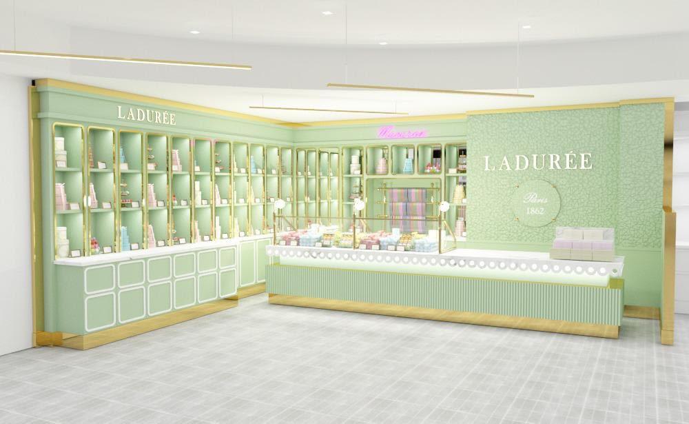 ラデュレグリーンを基調とした、柔らかな雰囲気の店内。