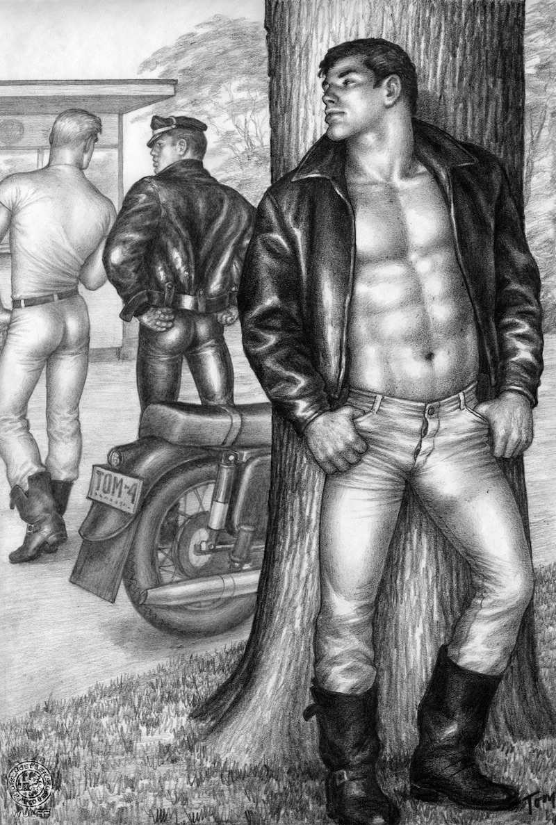 "TOM OF FINLAND (Finnish, 1920-1991), Untitled (From the Athletic Model Guild ""Motorcycle Thief"" series), 1964, Graphite paper, 12.69 in. x 8.63 in., Tom of Finland Foundation permanent collection, © 1964 - 2020 Tom of Finland Foundation"