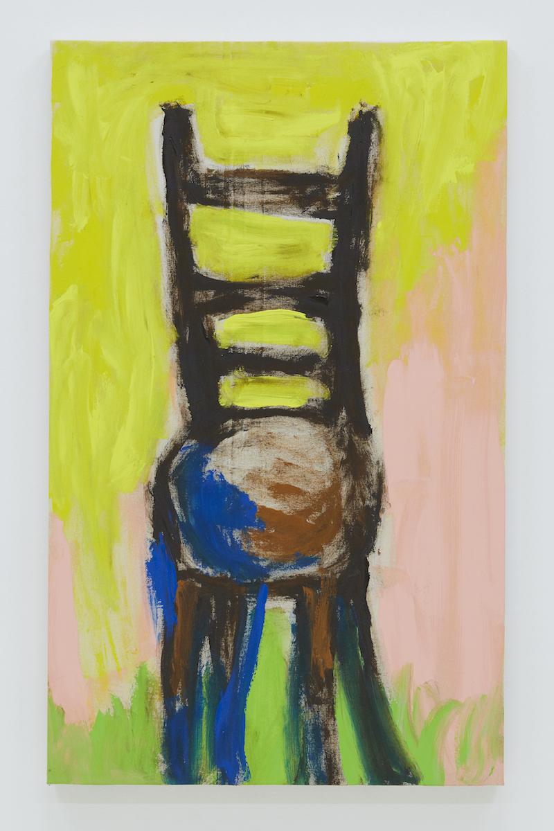 とある未亡人の椅子「ちょっと座るのに便利。靴を履くときなど」 2018 acrylic on canvas 96.8 x 59.3 cm ©Ellie Omiya 撮影:Kenta Aminaka