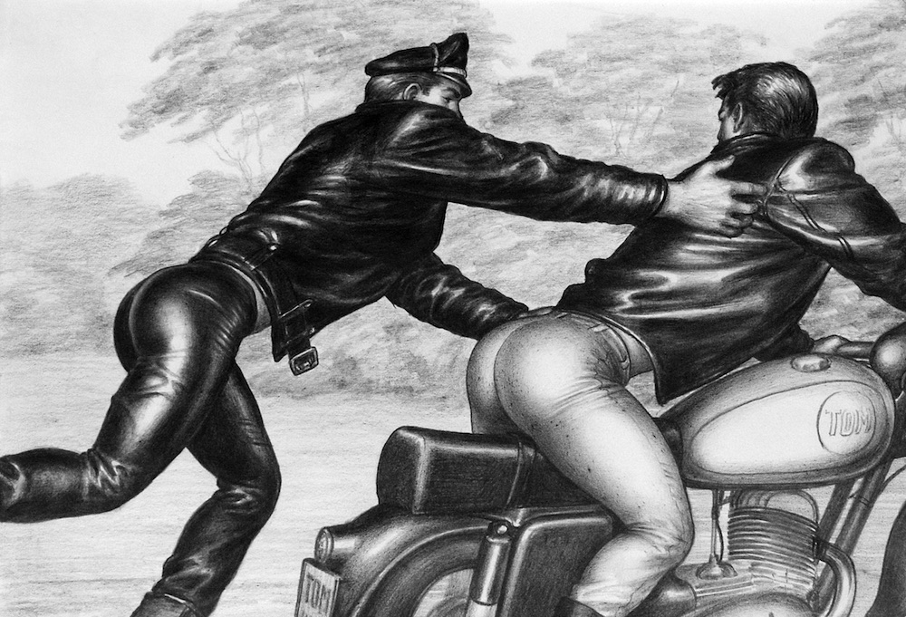 "TOM OF FINLAND (Finnish, 1920-1991), Untitled (From the Athletic Model Guild ""Motorcycle Thief"" series), 1964, Graphite paper, 8.88 in. x 12.88 in., Tom of Finland Foundation permanent collection, © 1964 - 2020 Tom of Finland Foundation"