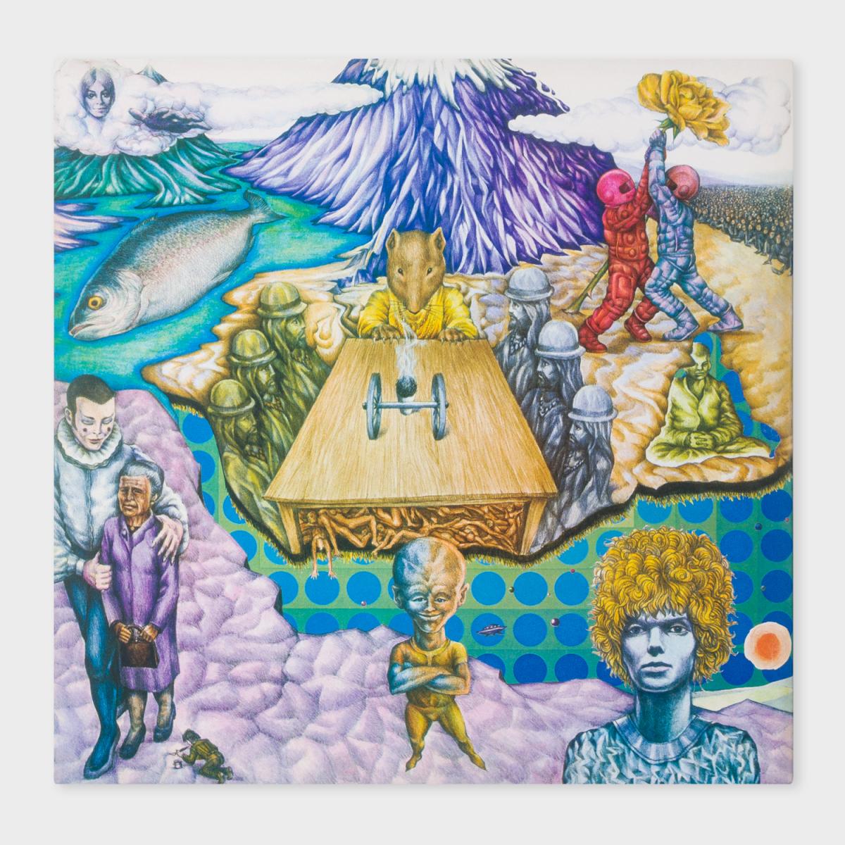 『スペイス・オディティ』は1969年7月11日に発売された、ボウイにとって2枚目のスタジオ・アルバム。発売当時のタイトルは『David Bowie』だった。今回のポール・スミス限定アナログ盤のジャケットは、英フィリップスから発売となったオリジナル盤のデザインを反映させたもので、英国人写真家のヴァーノン・デューハーストによるポートレートと、オプ・アートの巨匠ヴィクトル・ヴァルザリによる青いドットの作品が組み合わせられている。また、裏ジャケットにはボウイの幼馴染で生涯にわたり友人関係にあったイラストレーター、ジョージ・アンダーウッドのシュルレアリスム的な作品「Depth Of The Circle」が使われている。  アルバムのオープニングトラック「Space Oddity」にインスパイアされた12インチのレコード盤には、鮮やかな青と黄色のスペースパターンが。このデザインは手作業から生まれたもので、1点もののアート作品のようにも見える。