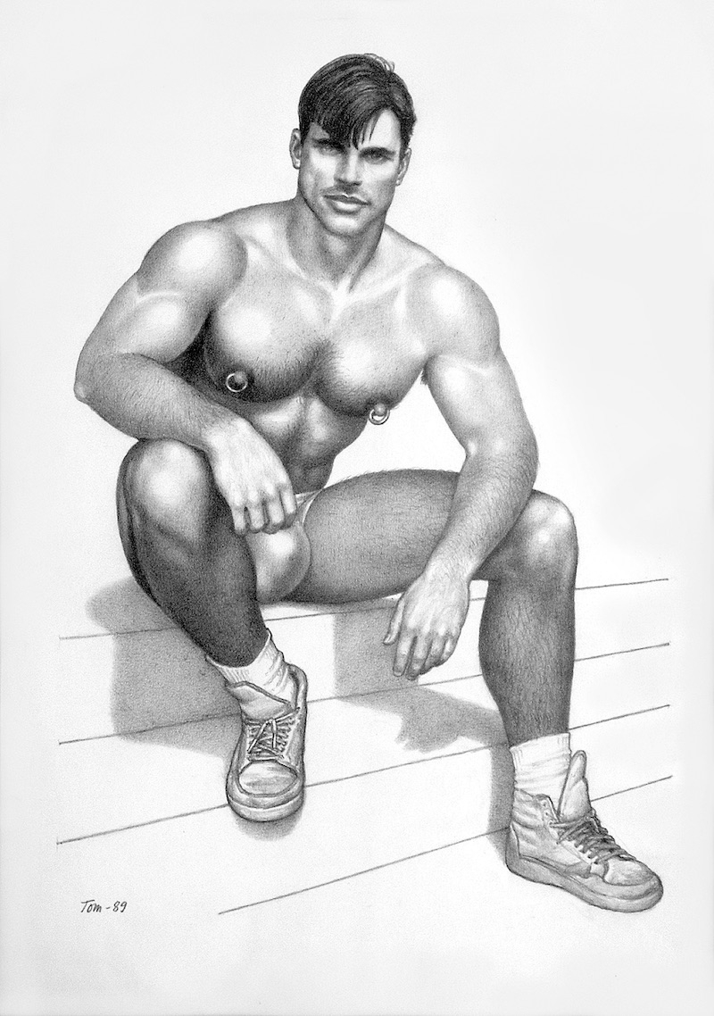 TOM OF FINLAND (Finnish, 1920-1991), Untitled, 1989, Graphite paper, 12.31 in. x 9.38 in., Tom of Finland Foundation permanent collection, © 1989 - 2020 Tom of Finland Foundation