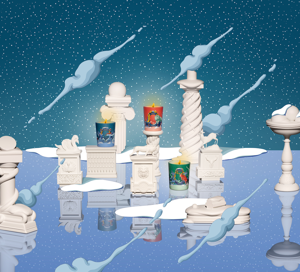 ウーゴ・ガットーニの幻想的な世界観が楽しめるホリデーコレクション。左から「フレグランスキャンドル アンブル プリューム」 ()