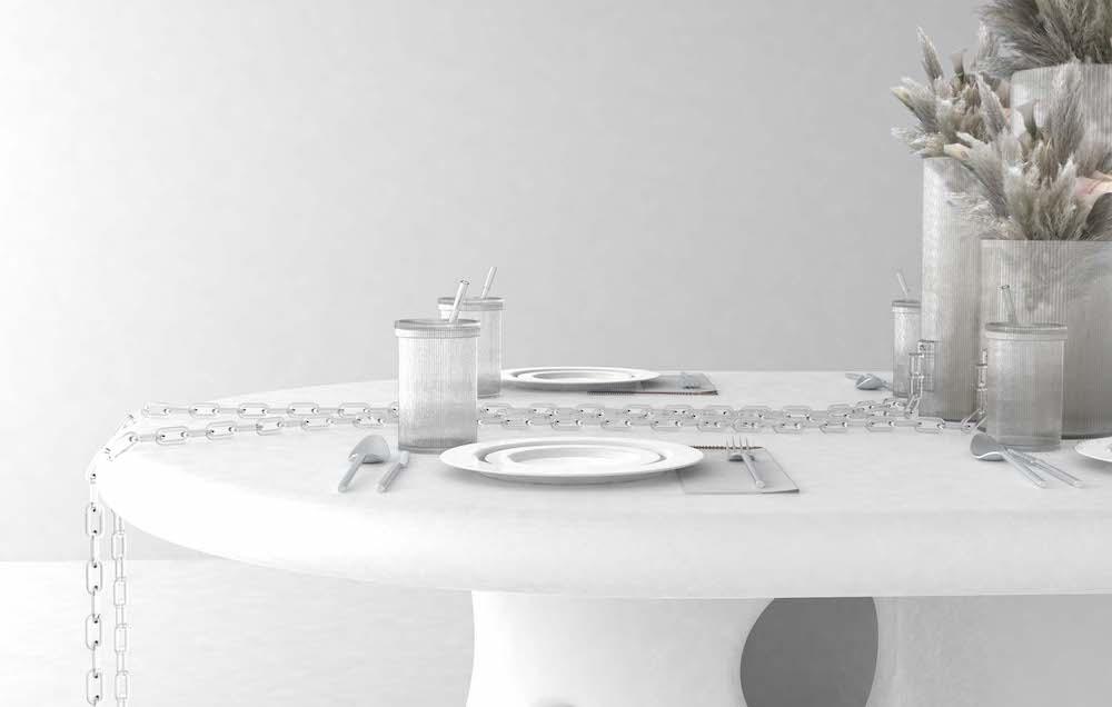 ファストフード店のドリンクカップを思わせる、ガラス製の蓋とストローがついたデザインが大胆。「Crystal Clear グラス by ヴァージル・アブロー」 ¥63,000