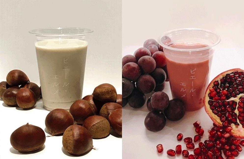 (左)「マロン ソイミルク」¥660(右)「ぶどう&ザクロ スムージー」¥660