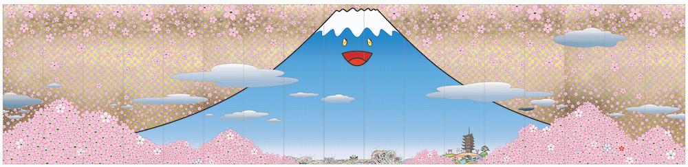 村上 隆 《チェリーブロッサム フジヤマ JAPAN》 2020年 アクリル絵具、キャンバス 500× 2,125 cm