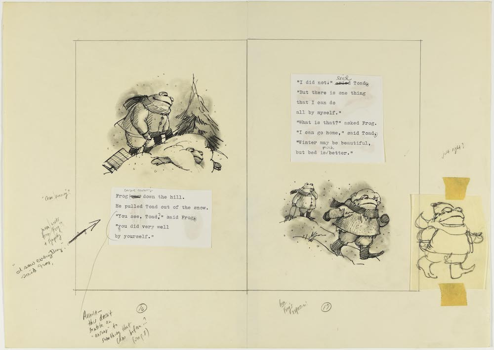 『ふたりはいつも』(1976)「そりすべり」レイアウトCourtesy of the Estate of Arnold Lobel. © 1976 Arnold Lobel. Used by permission of HarperCollins Publishers.
