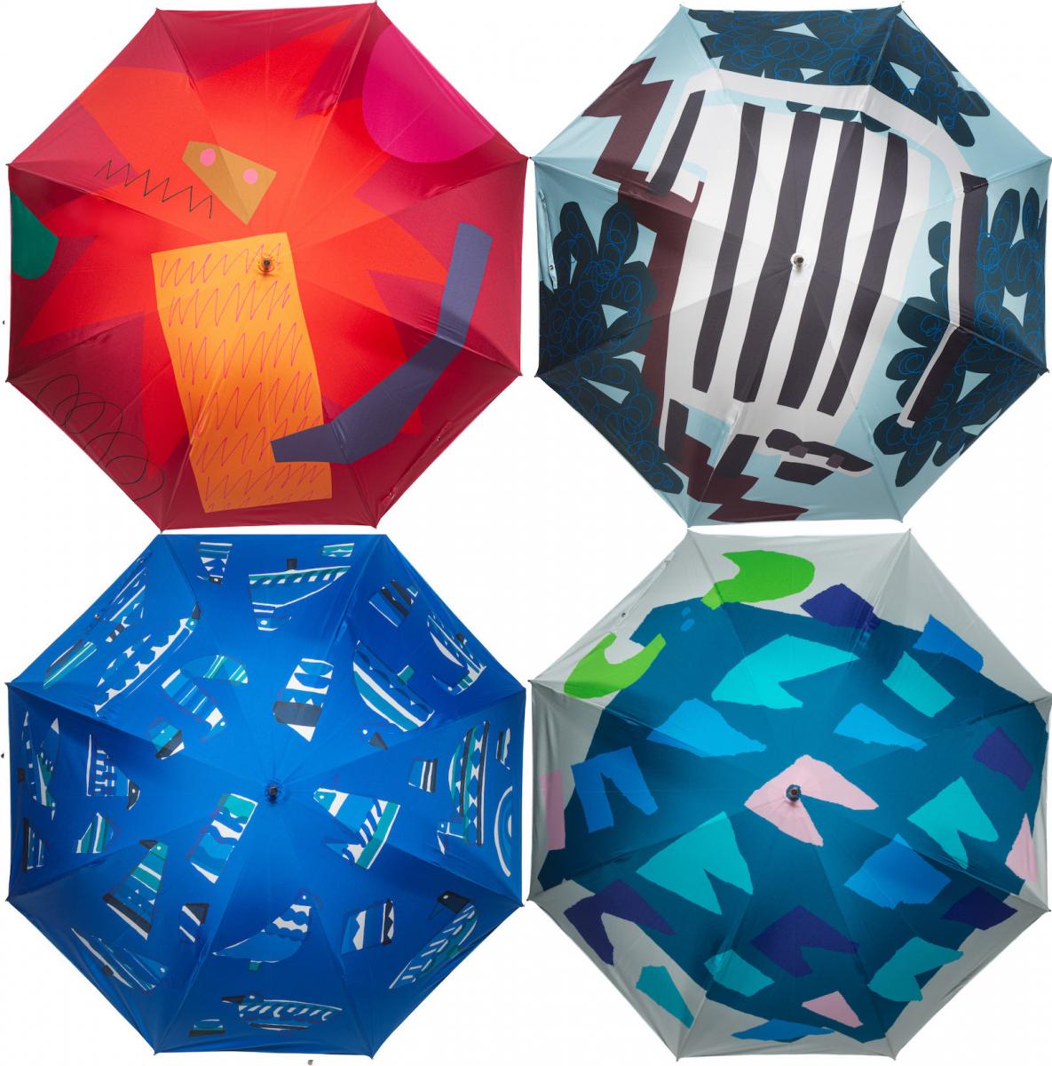「鈴木マサルの傘 POP UP STORE」には今年もカラフルな傘がずらり。左上から時計回りに「star lion」「crosswalk」「water buffalo」「birds parlor」各¥13,000