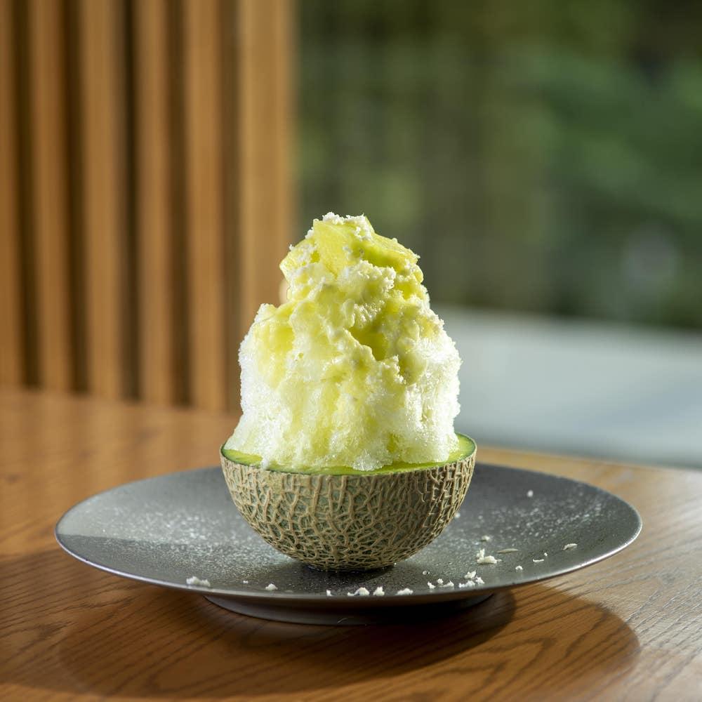 やさい家めい「北海道山川農園の山川わさびとメロンのかき氷」(1日限定15食)¥1,590