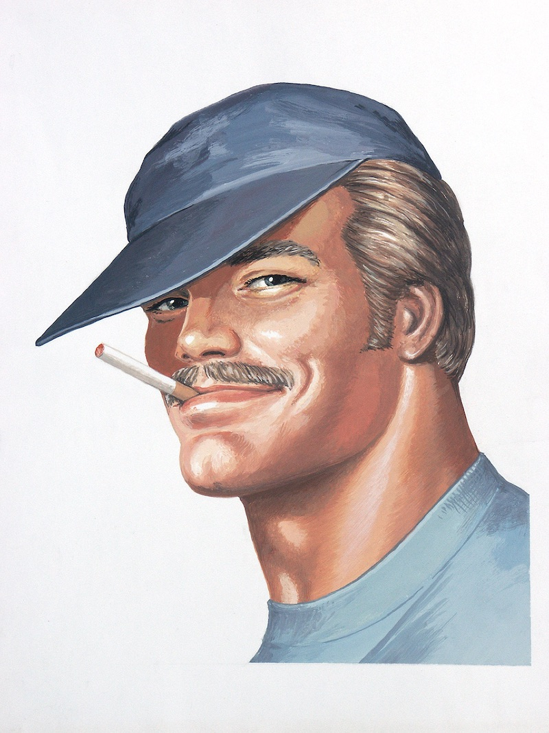 TOM OF FINLAND (Finnish, 1920-1991), Portrait of Pekka (Cover of Sex in the Shed), 1975, Gouache on paper, 10.69 in. x 8.81 in., Tom of Finland Foundation permanent collection, © 1975 - 2020 Tom of Finland Foundation