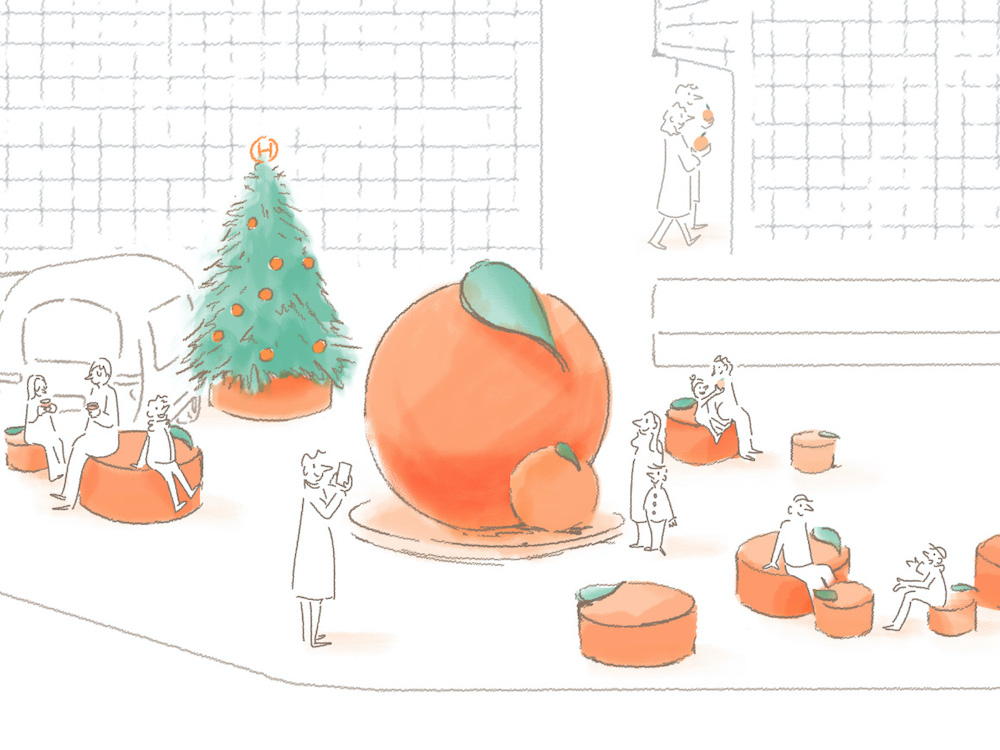 銀座ソニーパークがエルメスのオレンジとクリスマスツリーで明るくハッピーな雰囲気に。