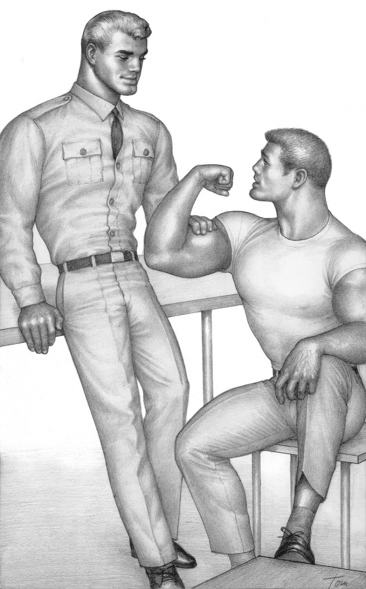 TOM OF FINLAND (Finnish, 1920-1991), Untitled, 1963, Graphite paper, 13.69 in. x 8.31 in., Tom of Finland Foundation permanent collection, © 1963 - 2020 Tom of Finland Foundation