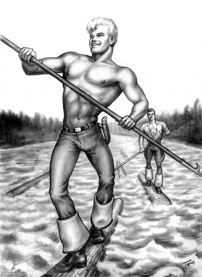 """TOM OF FINLAND (Finnish, 1920-1991), Untitled (From the Athletic Model Guild """"Men of the Forests of Finland"""" series), 1957, Graphite paper, 13.00 in. x 9.50 in., Tom of Finland Foundation permanent collection, © 1957 - 2020 Tom of Finland Foundation"""