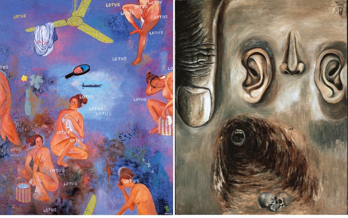 (左)「湯の町睡蓮(芸者鏡)」、2004年 Collection of the Fondation Cartier pour l'art contemporain, Paris © Tadanori Yokoo