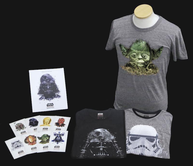 展覧会のオリジナル・グッズも続々登場。左上から時計回りに「Poster DARTH VADER」¥1,000、「T-shirt YODA」「T-shirt STORMTROOPER」「T-shirt DARTH VADER」各¥3,000、「Postcard Set」¥800