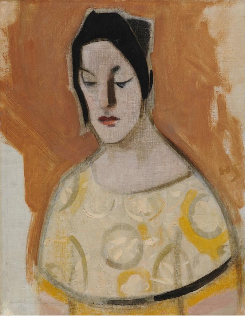 ヘレン・シャルフベック「占い師(⻩色いドレスの女性)」1926年