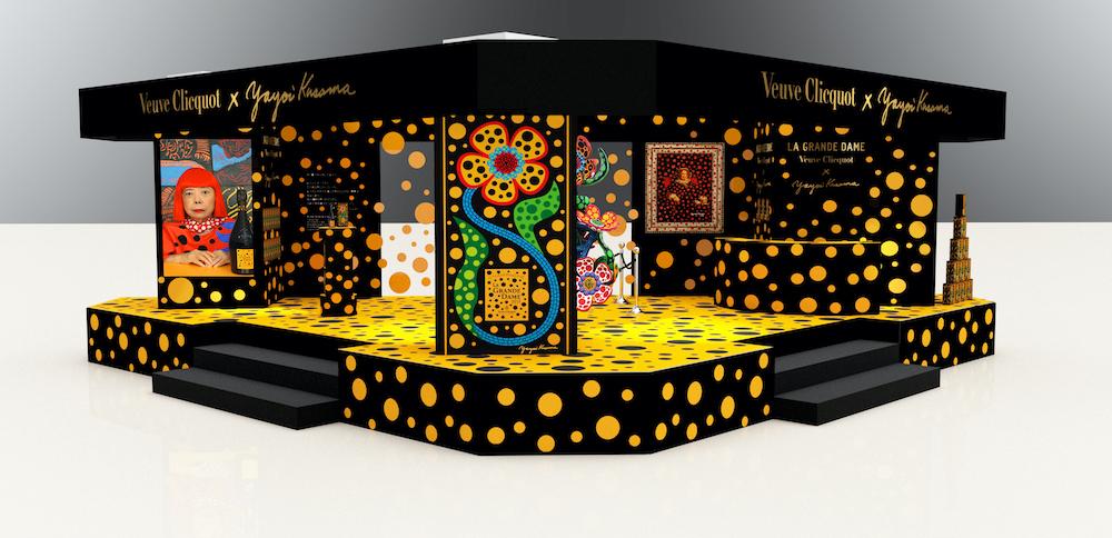 草間の代表的モチーフ、水玉模様が描かれた伊勢丹新宿店本館1階=ザ・ステージでのポップアップ空間。