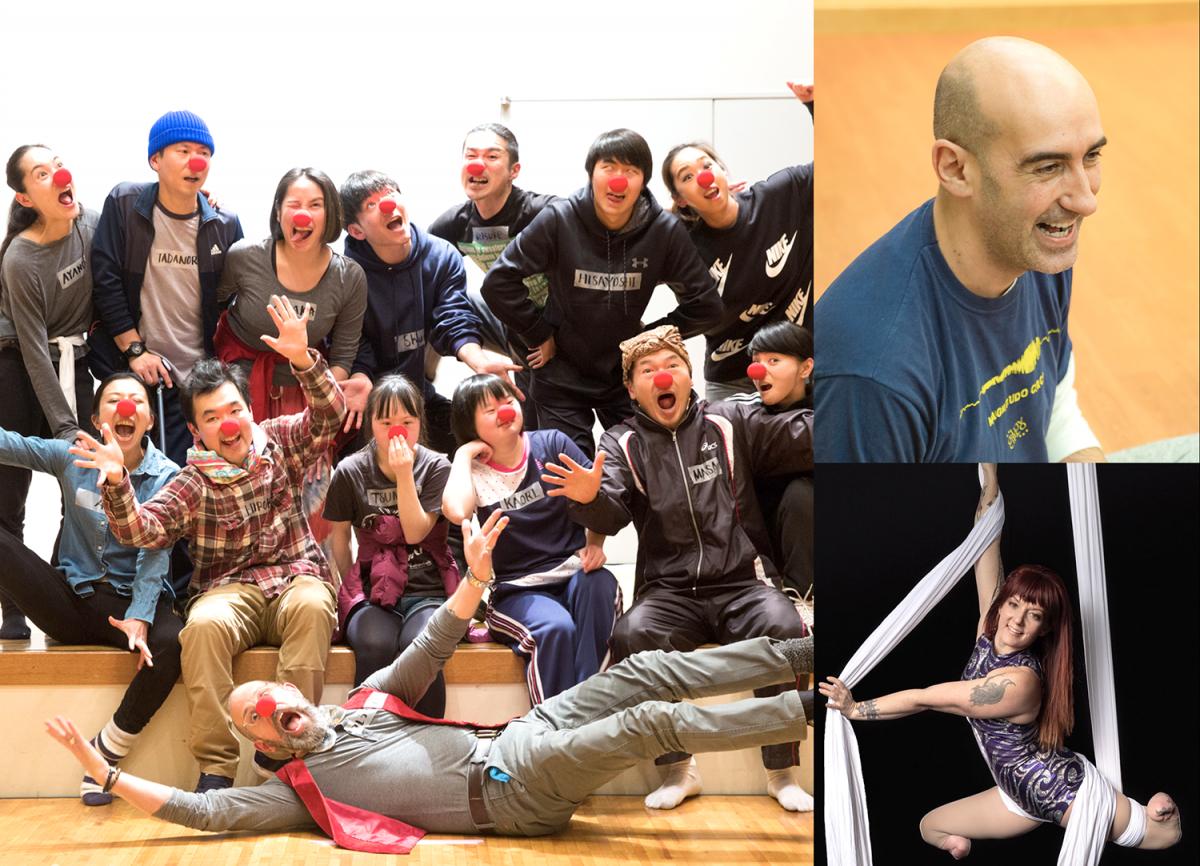 両足義足のエリン・ボール(右下)をはじめとした世界のサーカスアーティストと日本初のソーシャルサーカスカンパニー「SLOW CIRCUS PROJECT」のメンバーが取り組む「サーカスアニメーション」はコア会期に横浜市役所アトリウムで上映、オンラインでも配信。