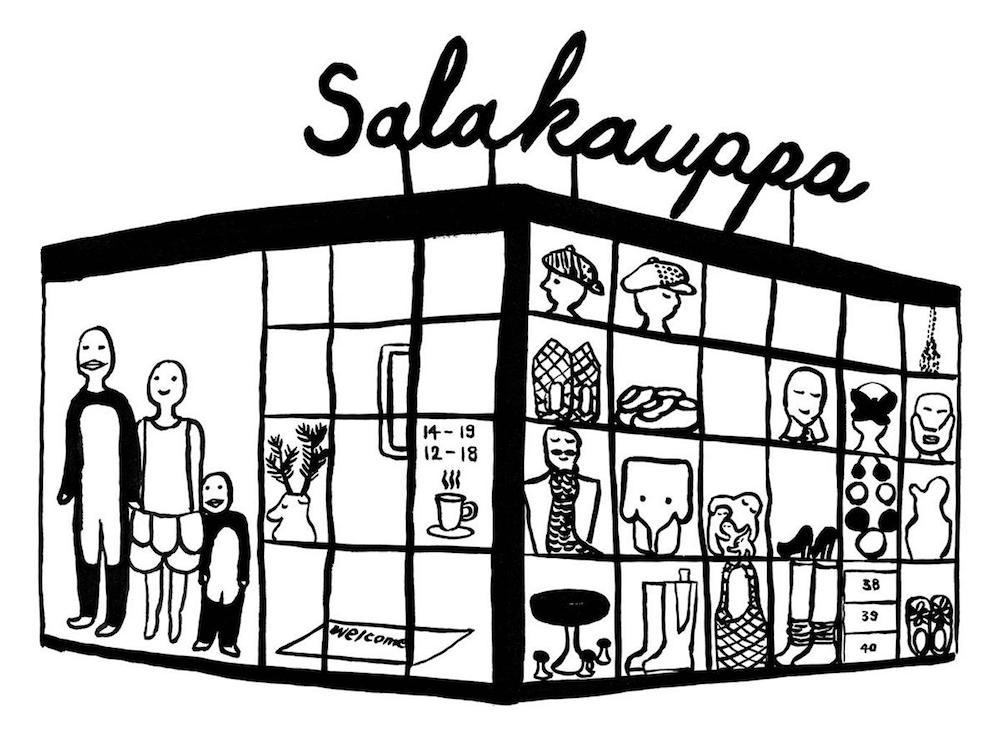 ヘルシンキの「サラカウッパ」のイメージ。彼らのキュートなイラストは作品のイメージそのもの。