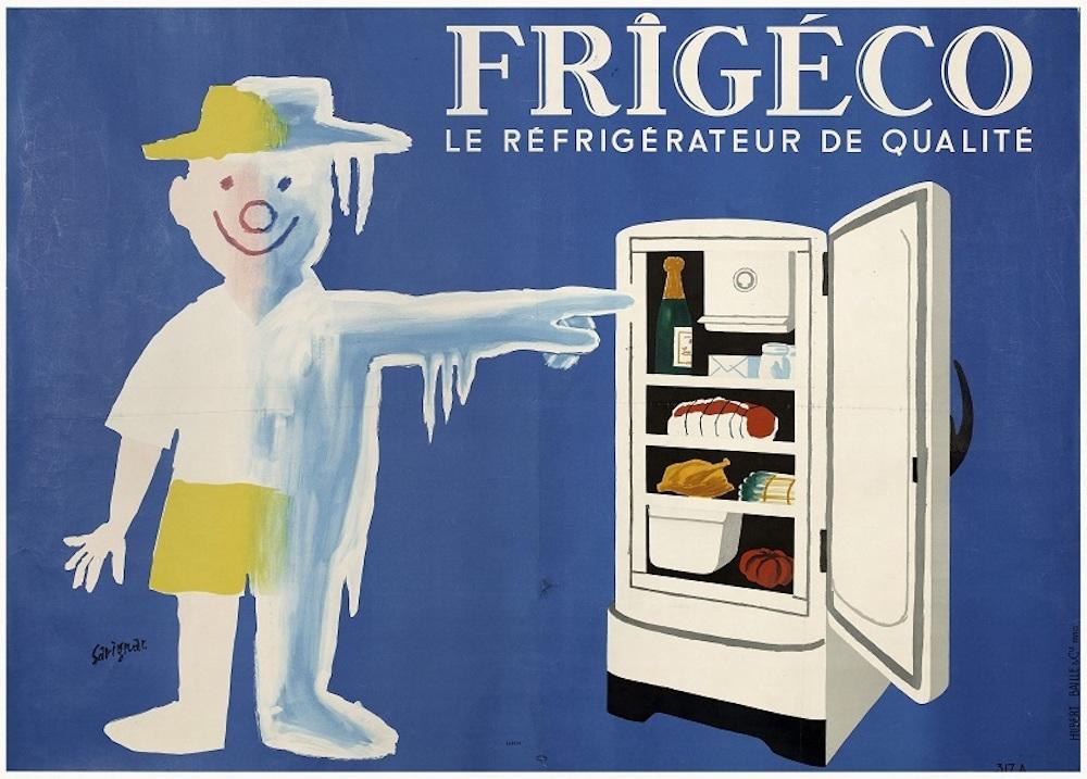 レイモン・サヴィニャック『フリジェコ:良質の冷蔵庫』(1959年)ポスター、カラーリトグラフ 120×160cm パリ市フォルネー図書館所蔵 ©Annie Charpentier 2018