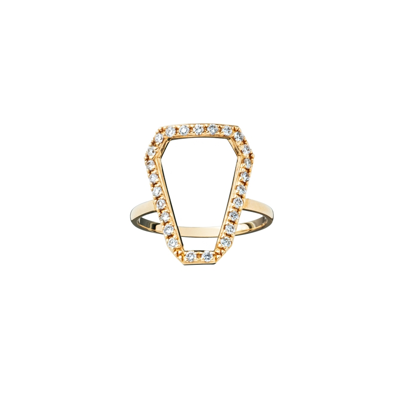 """Mughal Shield""リング〈YG、ダイヤモンド〉¥180,000/ ショールーム セッション(Hirotaka)"