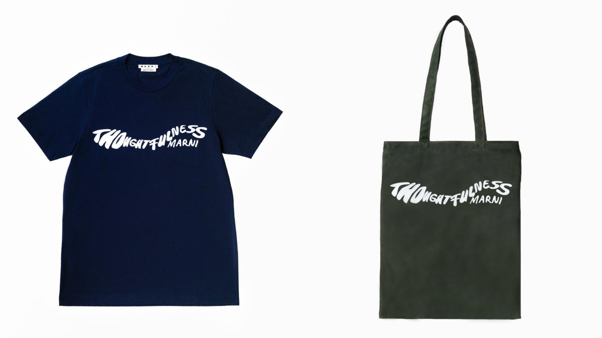 (左より)日本限定アイテム Tシャツ(※4月1日発売)¥38,000、バイカラー ナイロントートバッグ(※4月1日発売)(H39.5×W31cm)¥35,000/マルニ ジャパン クライアントサービス