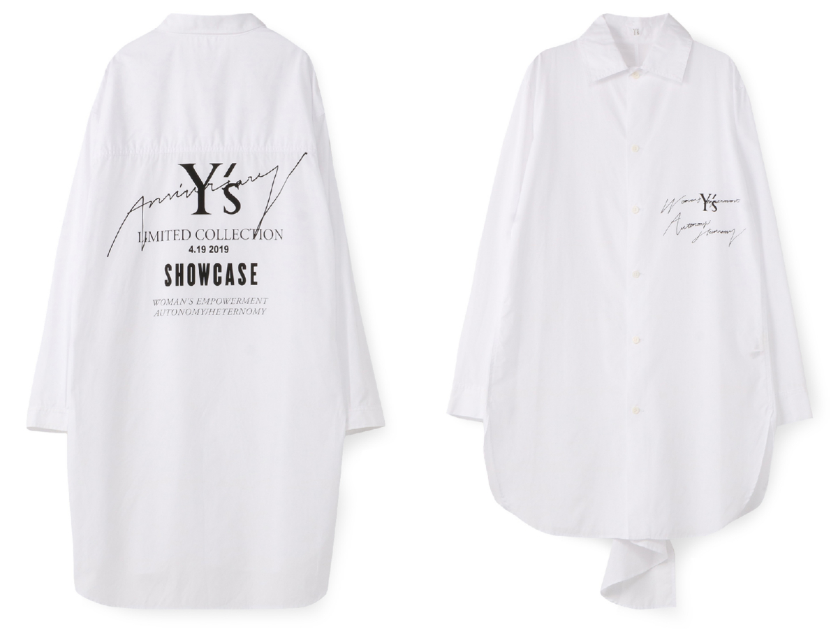 Y's SHOW CASE Anniversary LIMITED BIG T-SHIRT ¥40,000、Y's Anniversary LIMITED SHIRT ¥38,000/ワイズ 表参道(ワイズ)