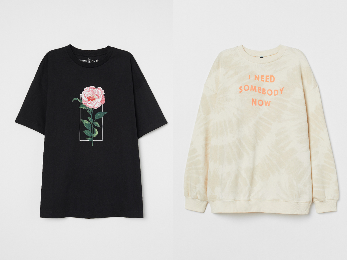 Tシャツ ¥1,799、スウェットトップス ¥2,999(税込)/H&M カスタマーサービス