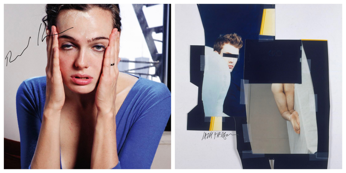 """スカーフ(70×70cm、モスリン・綾織 100%シルク)各¥19,000 (左)リチャード・カーン AMY PUTS ON CLINIQUE, 1997. 写真集""""XXMODELS"""" (2001)、(右)ジャック・ピアソンUNTITLED, 1998. PHOTOGRAPHIC COLLAGE PINNED TO WALL, 101.6 X 66 CM. 雑誌""""THE international #2 JACK PIERSON"""" (2001)※リミテッド・エディション各40枚/TOGA 原宿店"""