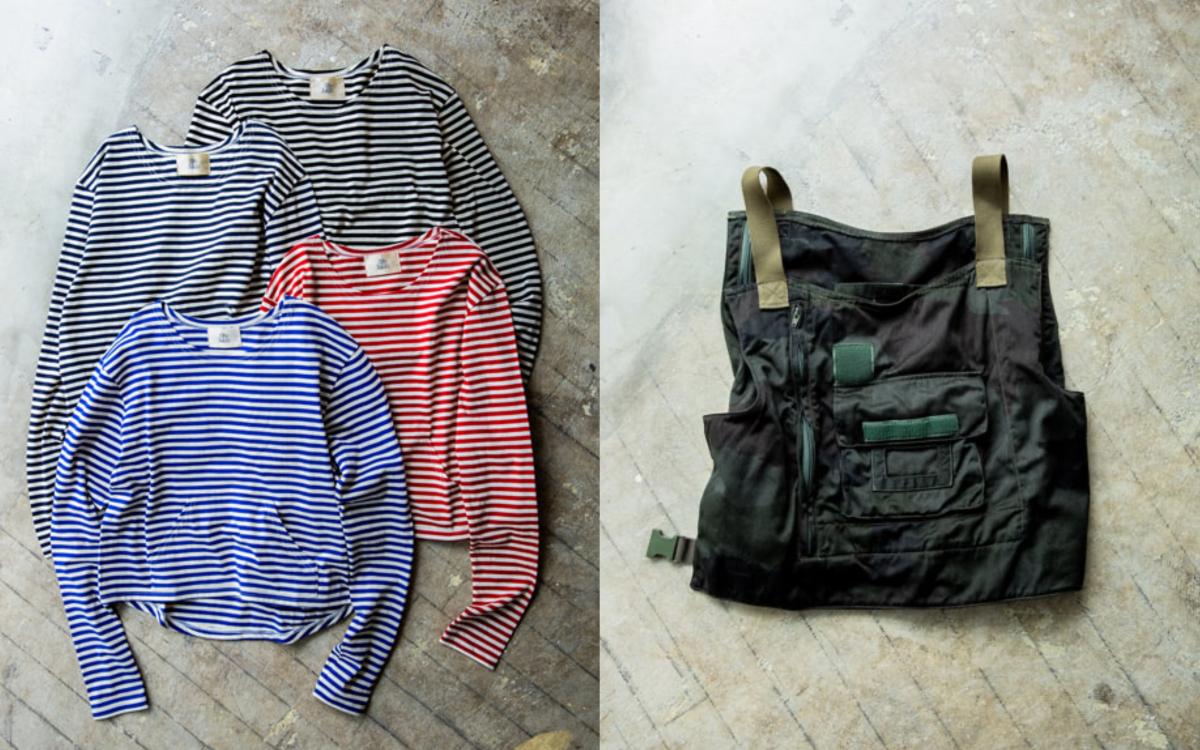 (左より)ボーダーシャツ ¥7,500、バッグ ¥14,000/ビームス プラネッツ 横浜(ザ・カーキ)
