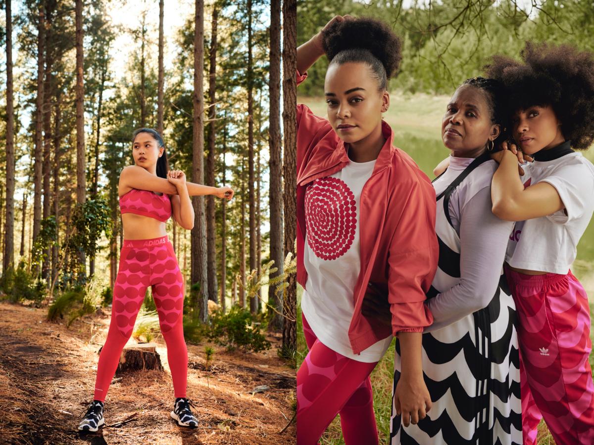 (写真左)W AM MARIMEKKO BRA ライトサポート ¥5,489  W TF MARIMEKKO ロングタイツ ¥6,589、adidas x Marimekko STAN SMITH(スタンスミス)¥13,200(写真右)左:W MARIMEKKO GFX 3 adidas x Marimekko Track Top(トラック トップ)¥10,989 、Tシャツ ¥4,389・中央:・右:/アディダスお客様窓口
