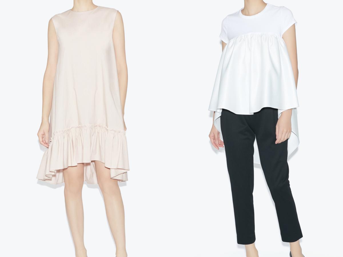 (左より)Hem Gathered A-line Cotton Dress ¥49,500、Gathered Cut-sew ¥24,200