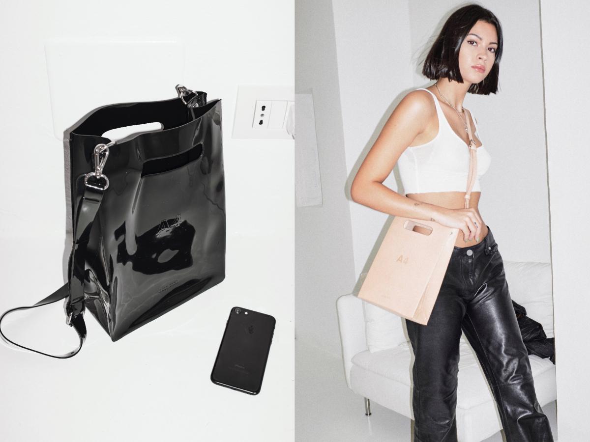 (左)PVC×SUEDE DUFFLE BAG〈?×?×?cm〉 ¥33,000(右)LEATHER A4〈21×29×8.5cm〉¥33,000/ナナナナ