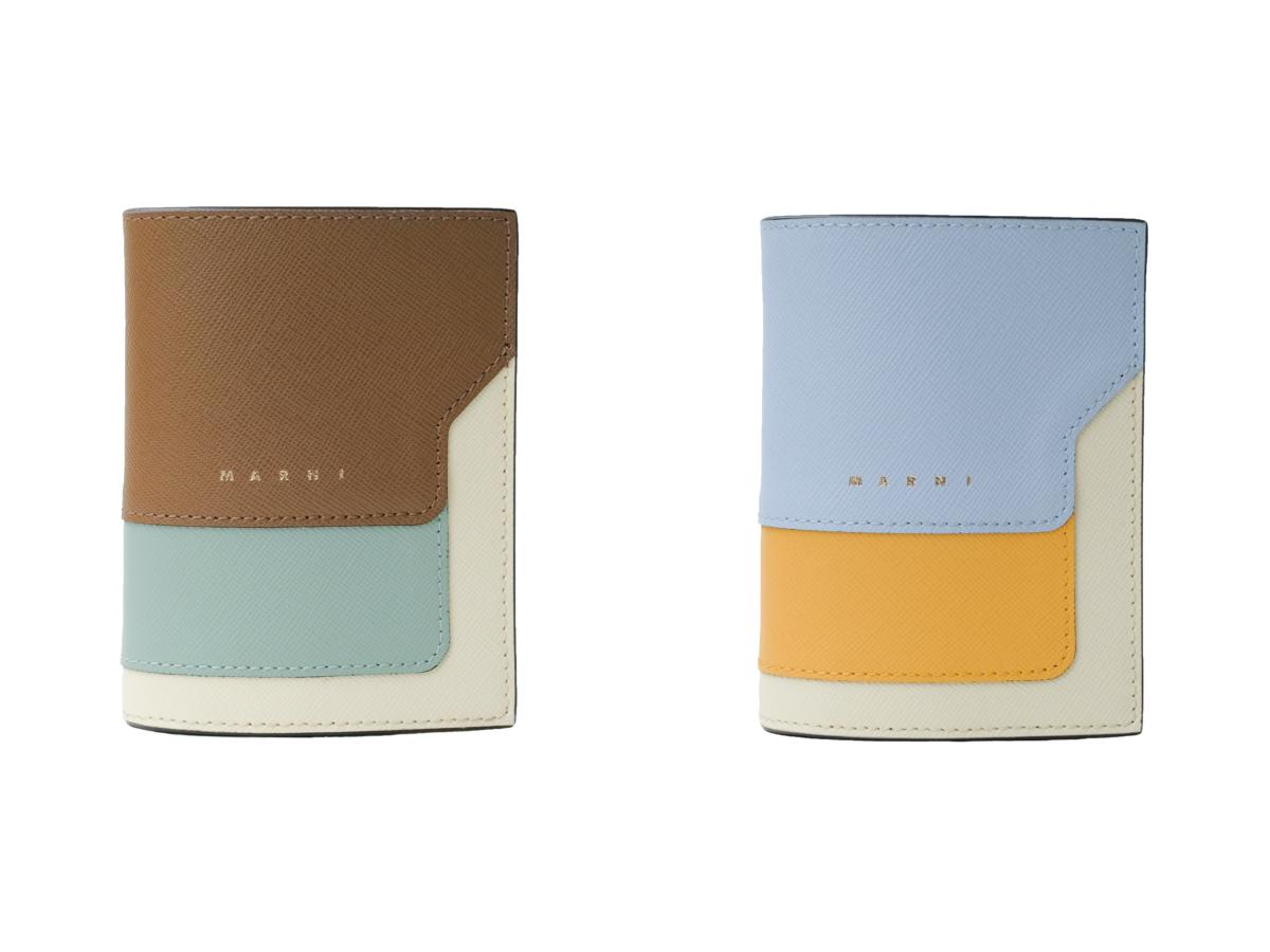 二つ折り財布(H8.5×W11×D2cm)各¥50,600(※日本限定カラー)/マルニ ジャパン クライアントサービス